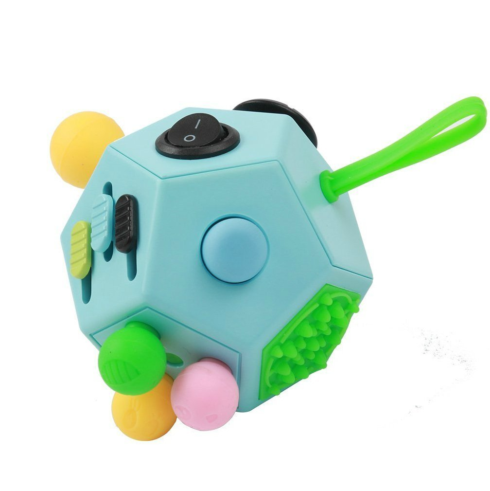 Reviews Decompression Cube 12 Sides Fidget Cube Relieves Anxiety And Stress For Children And Adults Blue B3
