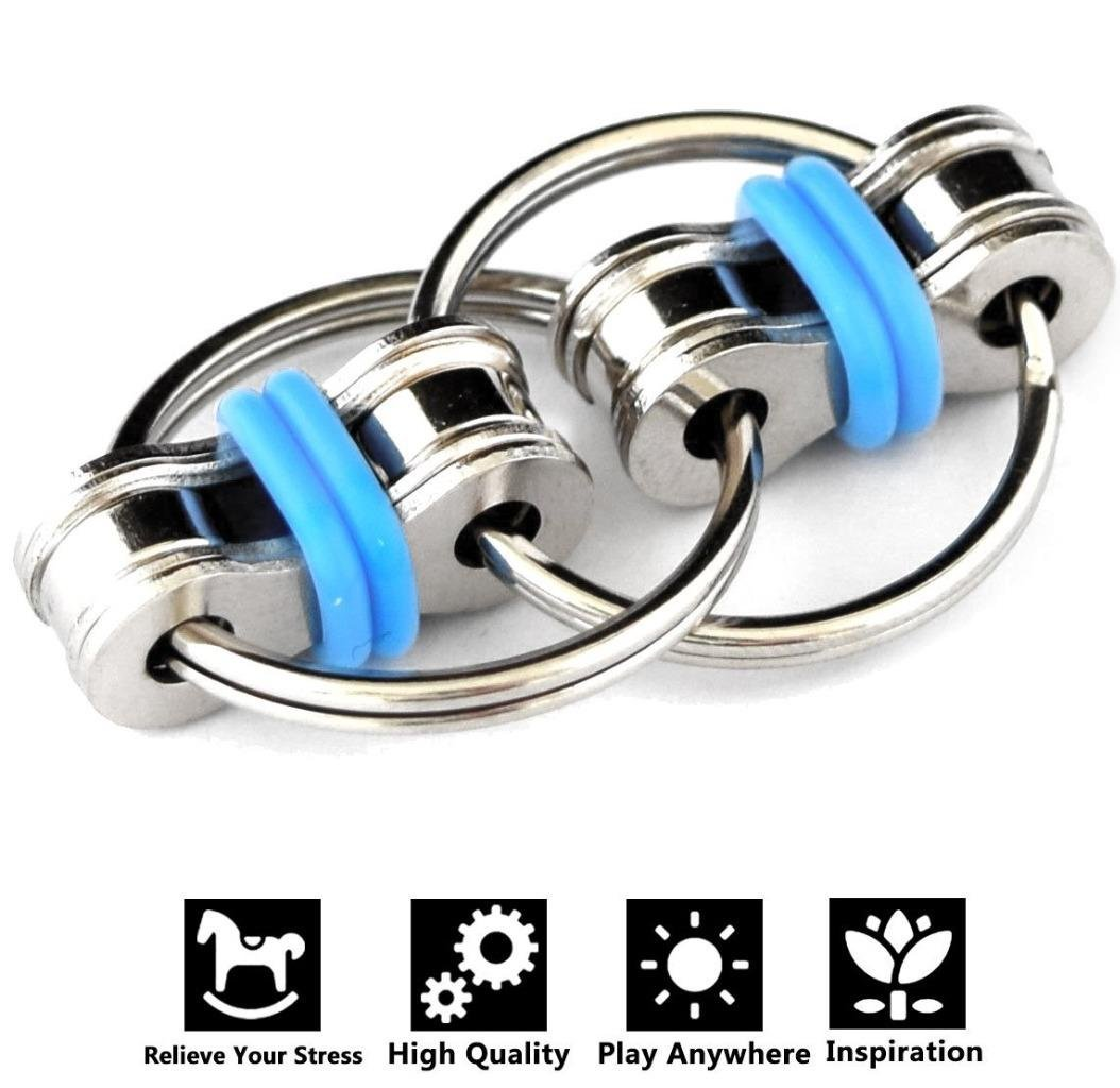 Flippy Chain Fidget Toys, Relieve Stress and Anxiety,Autism, ADD, ADHD for Kids and Adults(Blue)