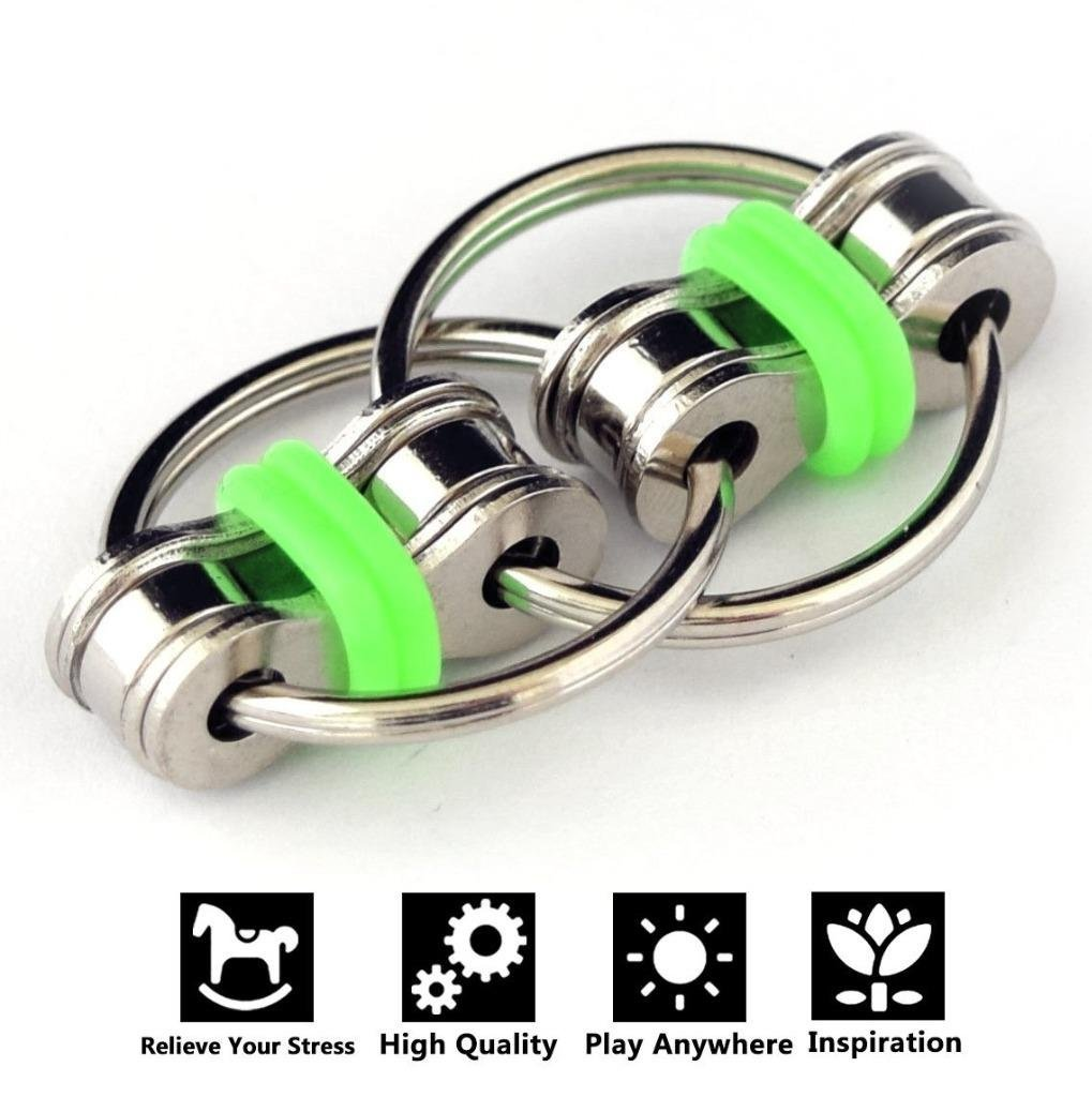 Flippy Chain Fidget Toys, Relieve Stress and Anxiety,Autism, ADD, ADHD for Kids and Adults(Green)