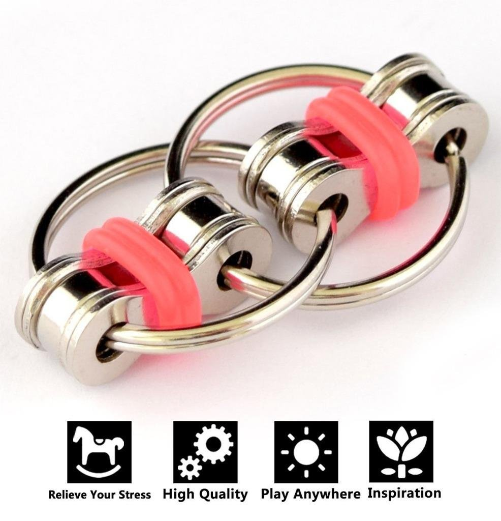 Flippy Chain Fidget Toys, Relieve Stress and Anxiety,Autism, ADD, ADHD for Kids and Adults(Red)