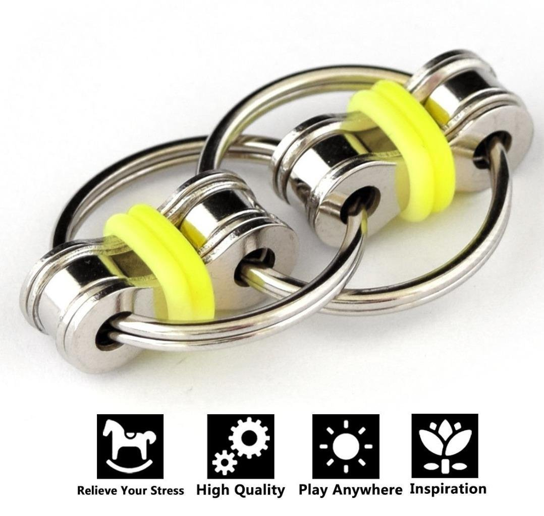 Flippy Chain Fidget Toys, Relieve Stress and Anxiety,Autism, ADD, ADHD for Kids and Adults(Yellow)