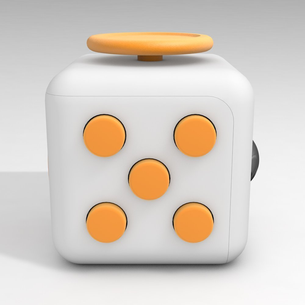 6 Cube Dice Fidget Toys White Yellow