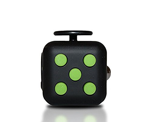 6 Cube Dice Fidget Toys Black Green