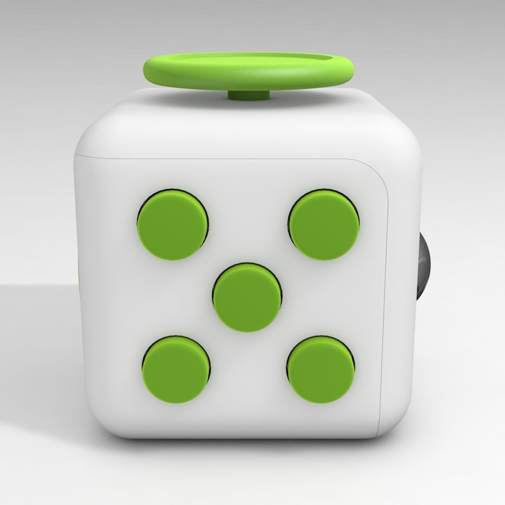 6 Cube Dice Fidget Toys White Green
