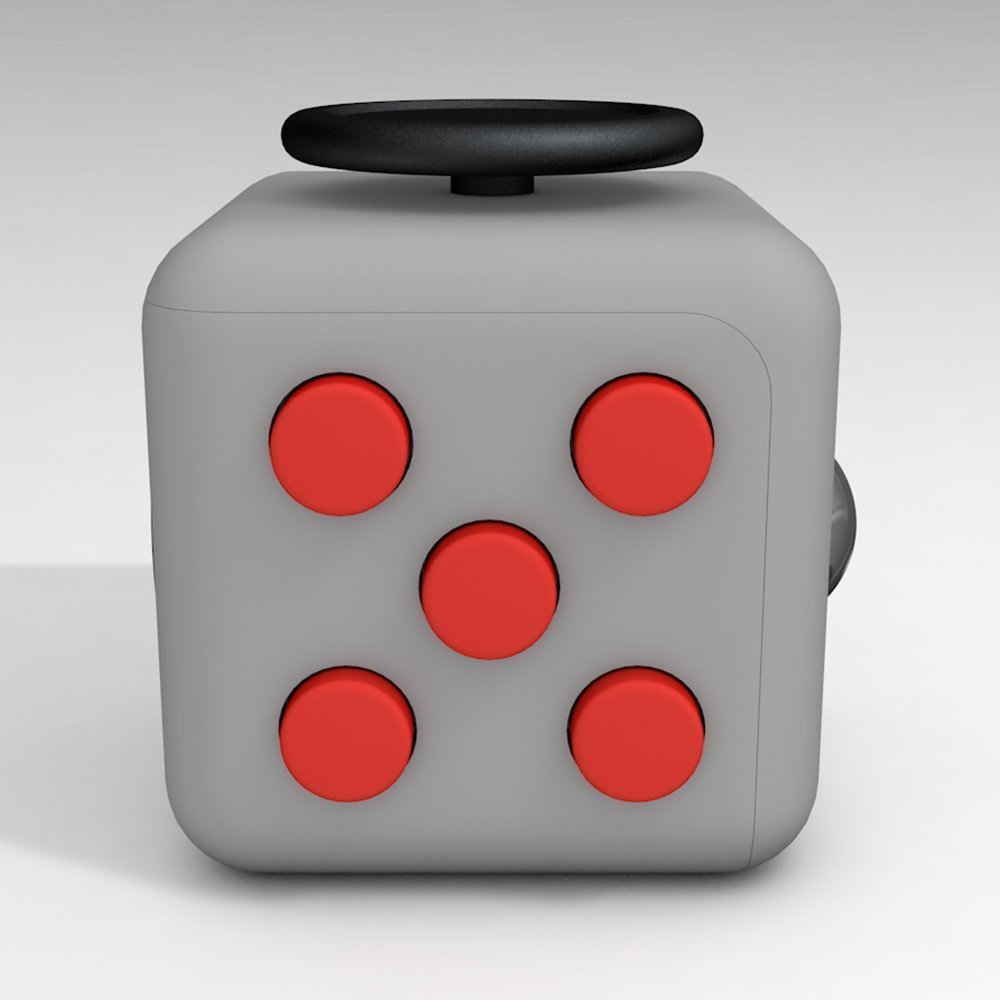6 Cube Dice Fidget Toys Gray Red