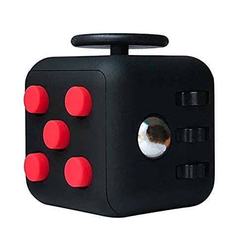 6 Cube Dice Fidget Toys Black Red