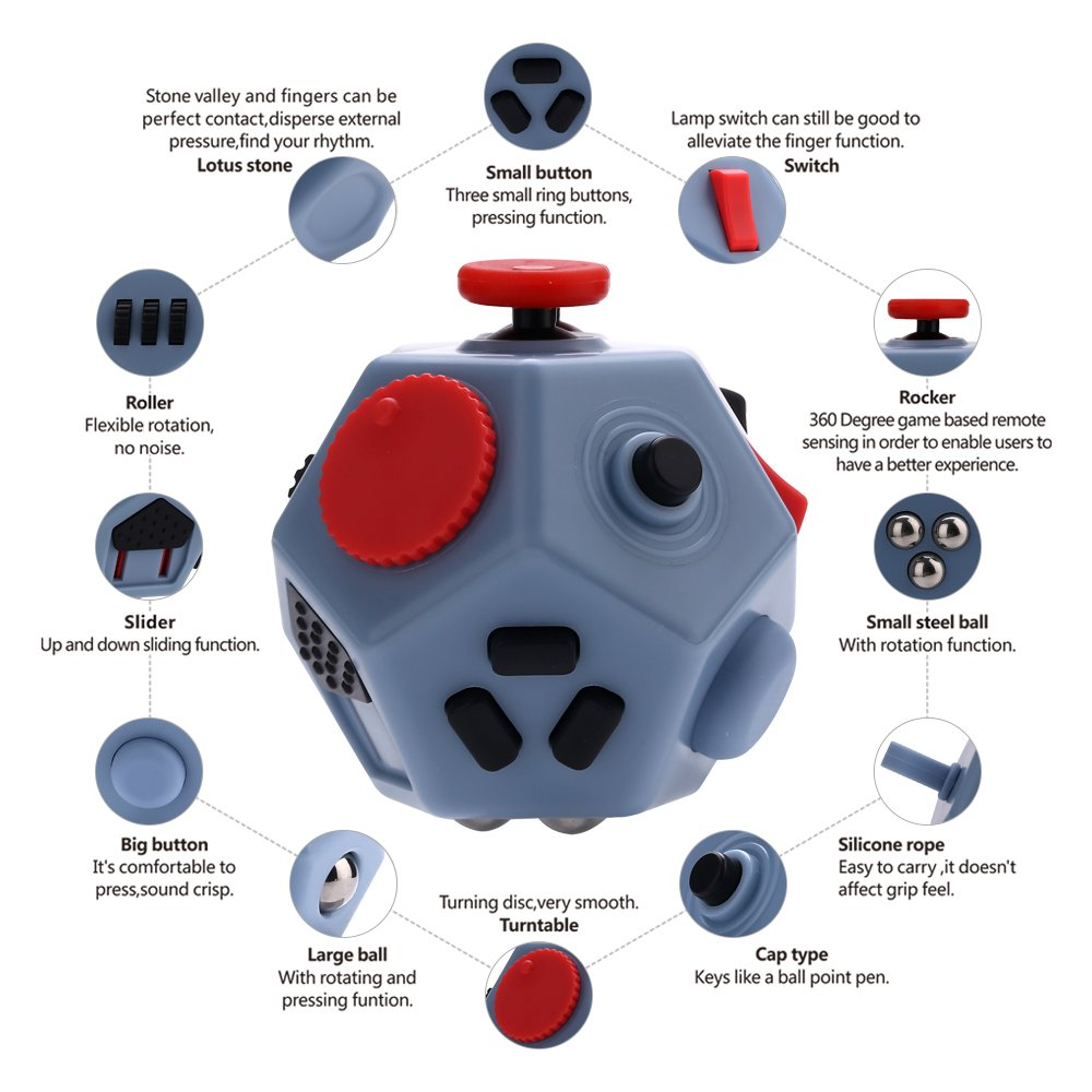 12 sides fidget cube toys,mini relieves stress toy for children and adults(Gray)